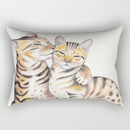 Bengal Cats Love Watercolor Ink Art Rectangular Pillow
