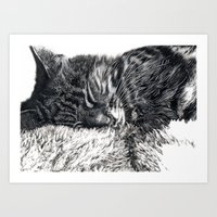 charlie Art Prints featuring Charlie by Lucy Schmidt Art