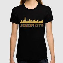 Vintage Style Jersey City New Jersey Skyline T-shirt