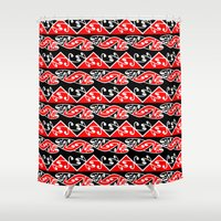 maori Shower Curtains featuring Kowhaiwhai Traditional Maori Koru Pattern by mailboxdisco