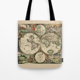 Ancient Map of the World - 1689 Tote Bag