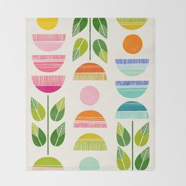 Sugar Blooms - Abstract Retro Inspired Design Throw Blanket