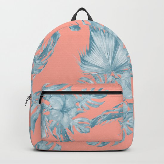 Dreaming of Hawaii Pale Teal Blue on Coral Pink Backpack