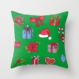 Christmas pattern (#1 green) Throw Pillow