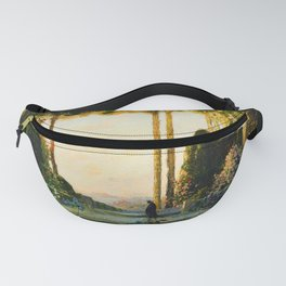 The Enchanted Garden Tuscany floral landscape painting by Thomas Mostyn Fanny Pack