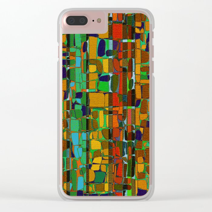 Abstract Geometric Fabric Clear iPhone Case