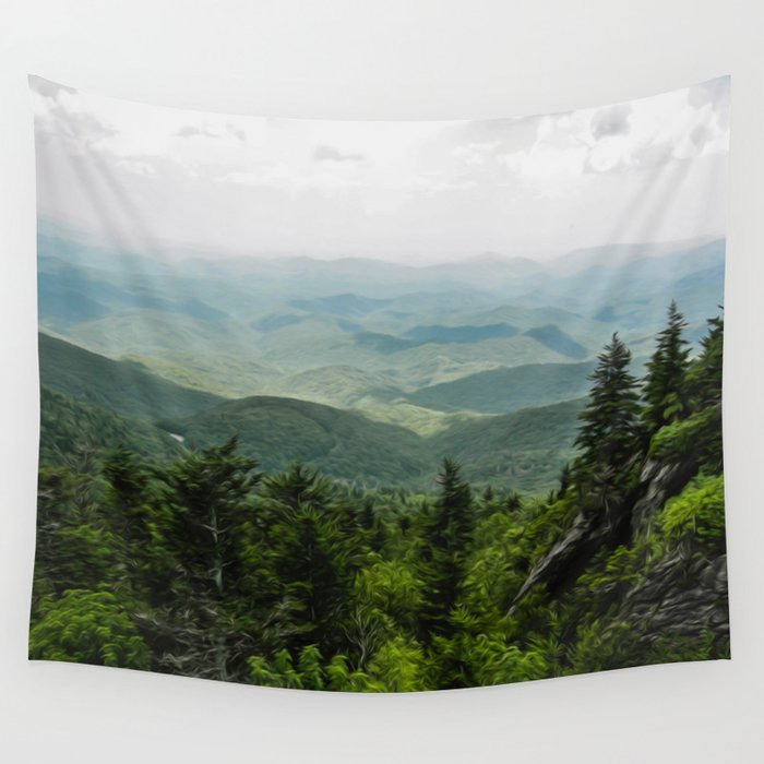 View from the Mountain Top Wall Tapestry