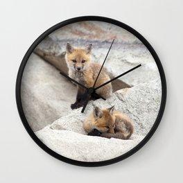 Watercolor Fox, Red Fox 39, Union Reservoir, Boulder County Wall Clock