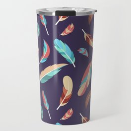 Colorful Feathers Repeating Pattern Travel Mug