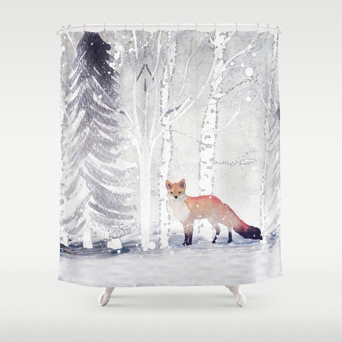 FOX Shower Curtain By Monikastrigel