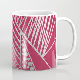 Abstract magenta faux silver geometrical pattern Coffee Mug