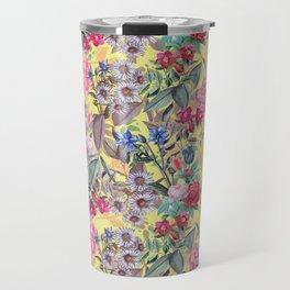 Floral on Yellow Travel Mug