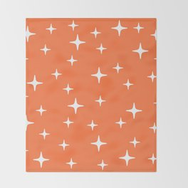 Mid Century Modern Star Pattern 443 Orange Throw Blanket