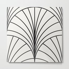 Diamond Series Floral Burst Charcoal on White Metal Print