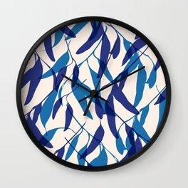 Gum leaves pattern in blue Wall Clock