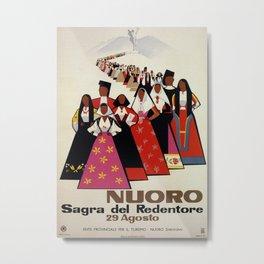 Nuoro Sardinia vintage Italian travel ad Metal Print