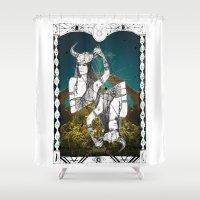 taurus Shower Curtains featuring Taurus by Caroline Vitelli GOODIES
