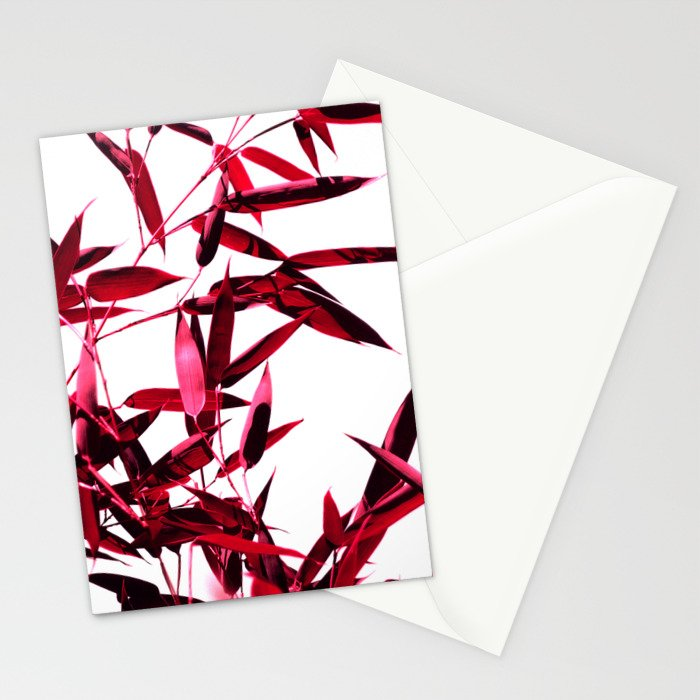 red bamboo abstract I Stationery Cards