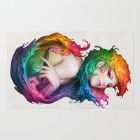 bows Area & Throw Rugs featuring Angel of Colors by Artgerm™