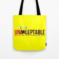 lemongrab Tote Bags featuring UNACCEPTABLE by robin