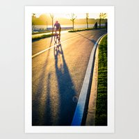 seoul Art Prints featuring Seoul Cycling by Aaron Frey