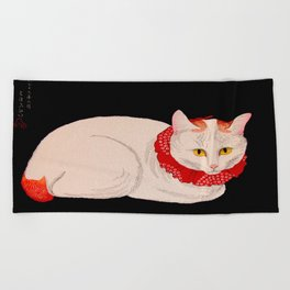 Shotei Takahashi White Cat In Red Outfit Black Background Vintage Japanese Woodblock Print Beach Towel