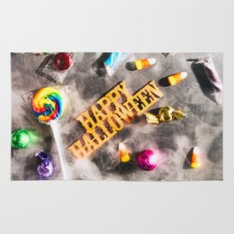 Halloween: Fog Drifts Around Candy And Disco Ball On Holiday Background Rug