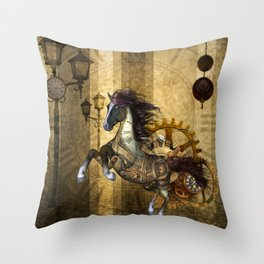 Awesome steampunk horse Throw Pillow
