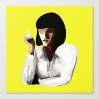 mia wallace Canvas Prints featuring Mia Wallace by Clotilde Petit