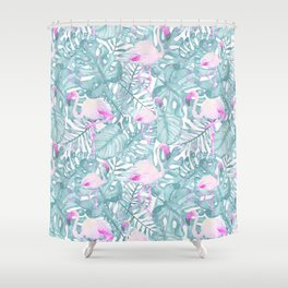 Neon pink green watercolor flamingo tropical leaves Shower Curtain