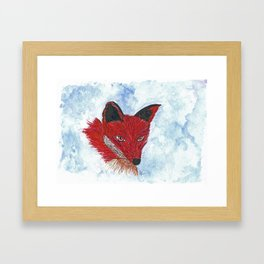 Original Watercolour and Ink Fox Framed Art Print