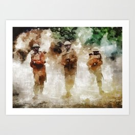 Gas Attack, World War Two Art Print