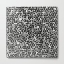 Faux Stone Mosaic in Darker Grays Metal Print