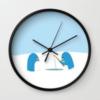 penguins Wall Clocks featuring Penguins by Ookah Design