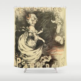 Vintage 1898 French theatre advertising Shower Curtain