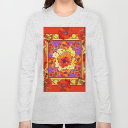 ART DECO ORANGE-RED POPPIES DECORATIVE  PATTERNS Long Sleeve T-shirt
