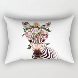 Baby Zebra With Flower Crown, Baby Animals Art Print By Synplus Rectangular Pillow