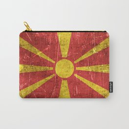 Vintage Aged and Scratched Macedonian Flag Carry-All Pouch