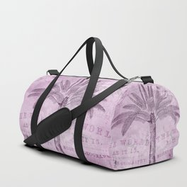 Pink Vintage Palm Tree And Travel Typography Art Duffle Bag