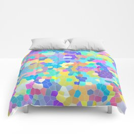 Stained glass print, colorful crystal shapes Comforters