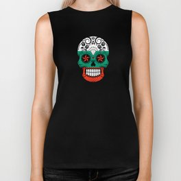 Sugar Skull with Roses and Flag of Bulgaria Biker Tank