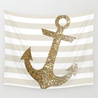 gold glitter Wall Tapestries featuring GLITTER ANCHOR IN GOLD by colorstudio