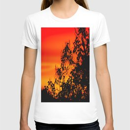 Silhouette of leaf with red autumn sky #decor #society6 T-shirt