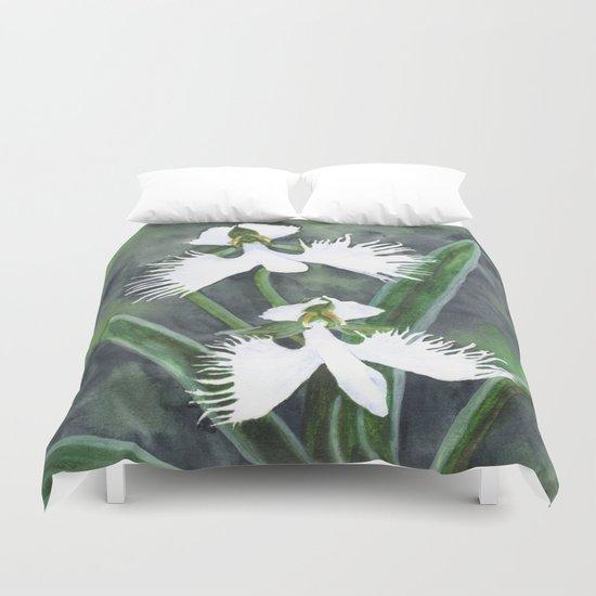 Habenaria radiata orchids Duvet Cover