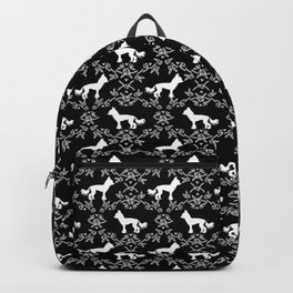 Chinese Crested silhouettes florals pet gifts unique dog breeds art black and white Backpack