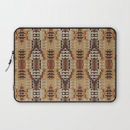 Orange Khaki Dark Caramel Coffee Brown Rustic Native American Indian Mosaic Pattern Laptop Sleeve
