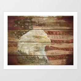 Rustic Bald Eagle Bird American Flag Patriotic Country Art A167 Art Print