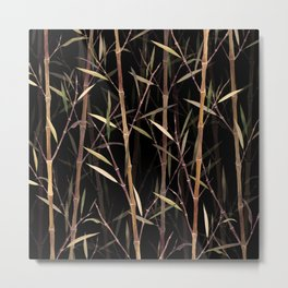 Dry Bamboo Forest at Night Metal Print