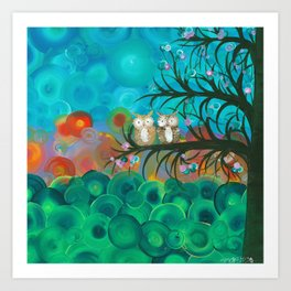 Owl Art by MiMi Stirn - Owl Couples# 341 Art Print
