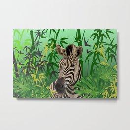 Zebra jungle bamboo background Metal Print